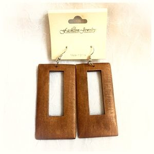 Jewelry - MOVING SALE! Smooth Wood Cutout Statement Earrings